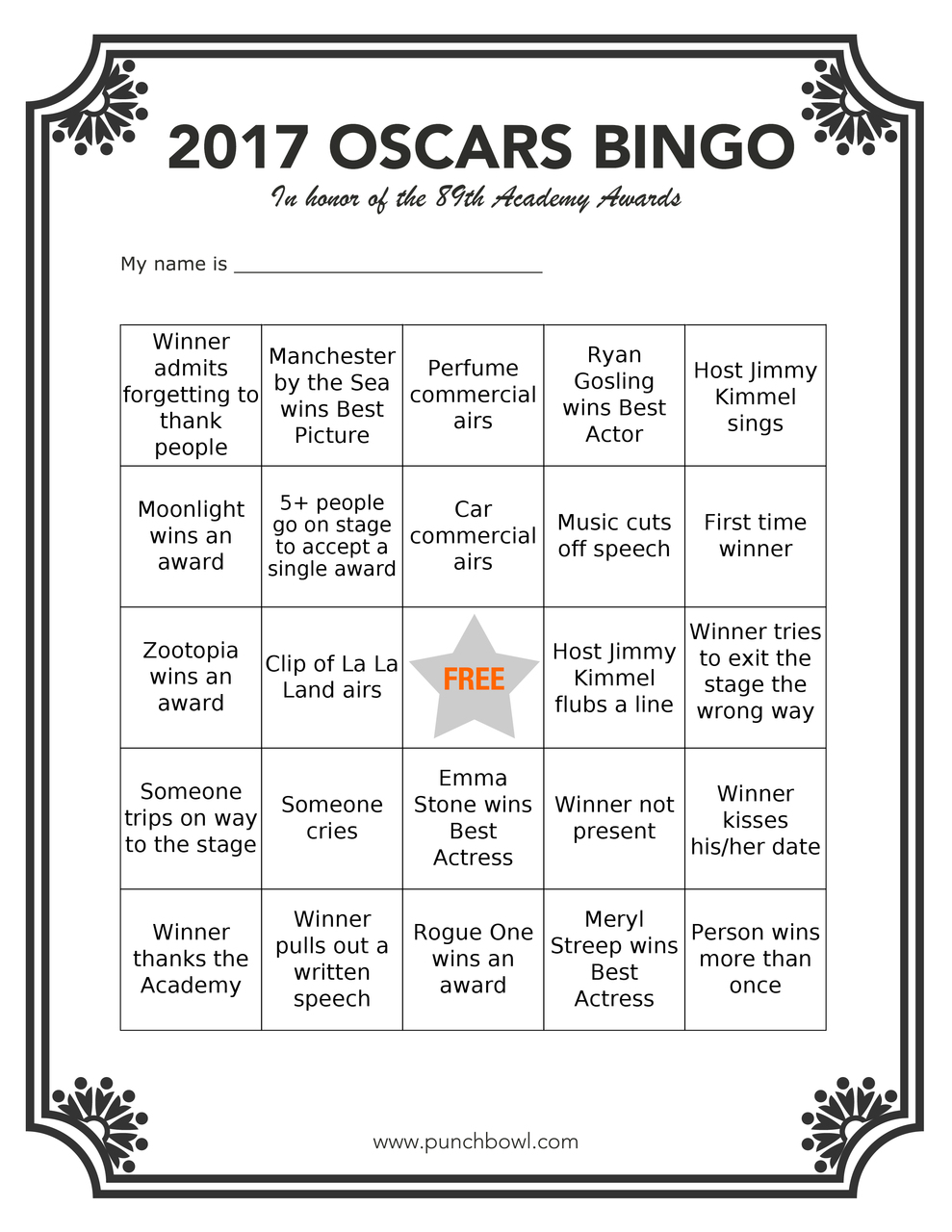 Printable Oscar Bingo on oscar bingo games