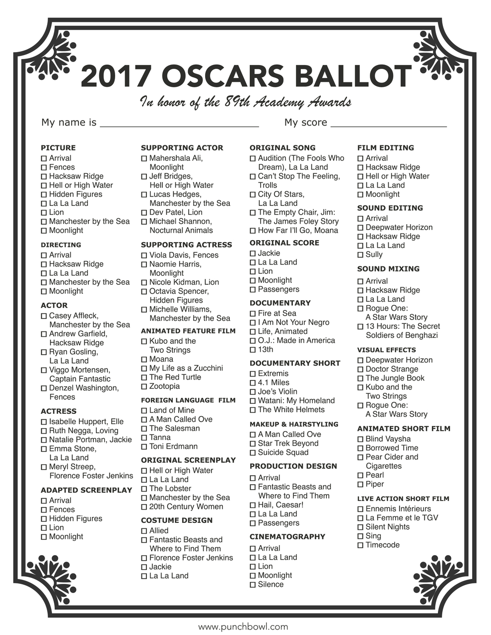 It's just a photo of Crush Oscars Printable Ballots