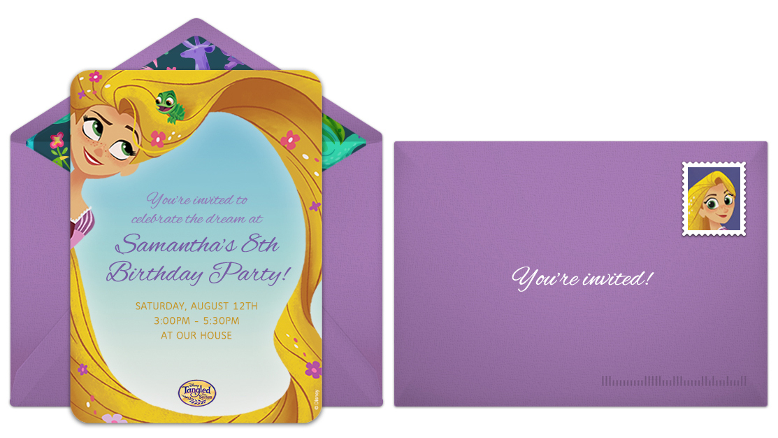 Plan a dreamy tangled birthday party free tangled online invitations filmwisefo