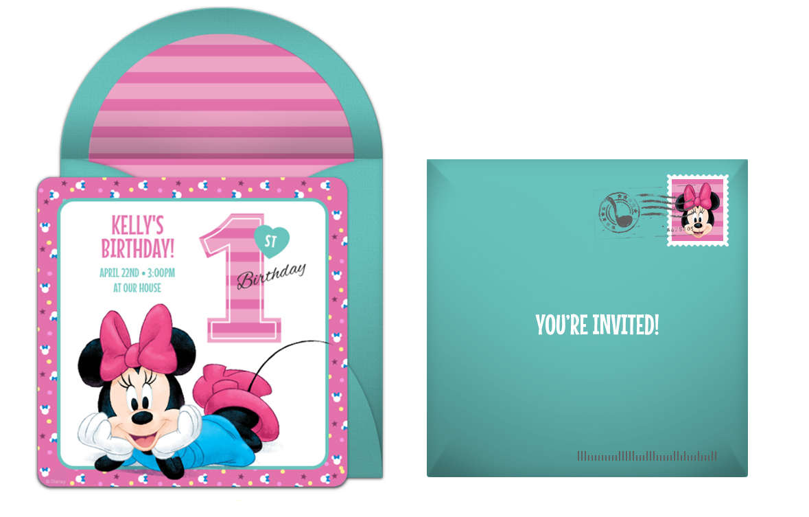 Free Minnie Mouse First Birthday Online Invitation
