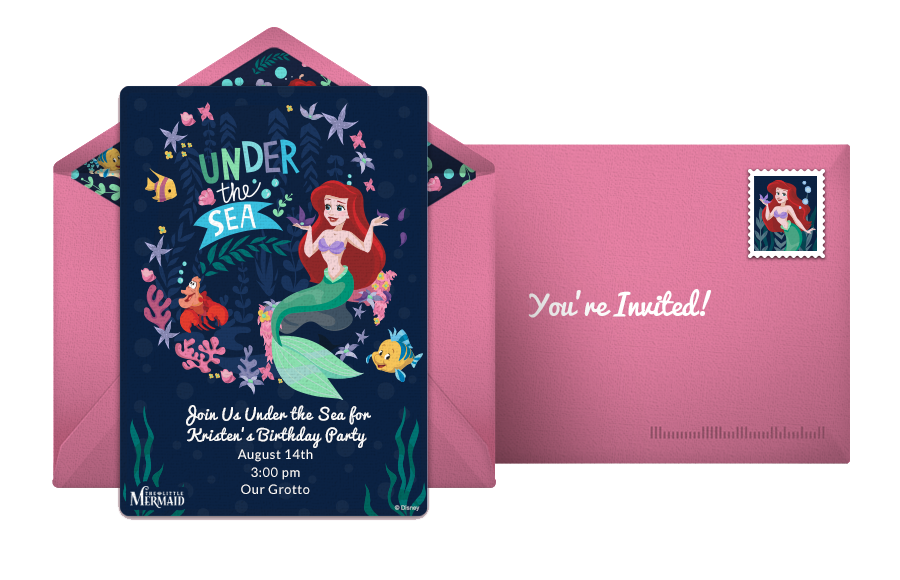Little Mermaid Online Birthday Invitation