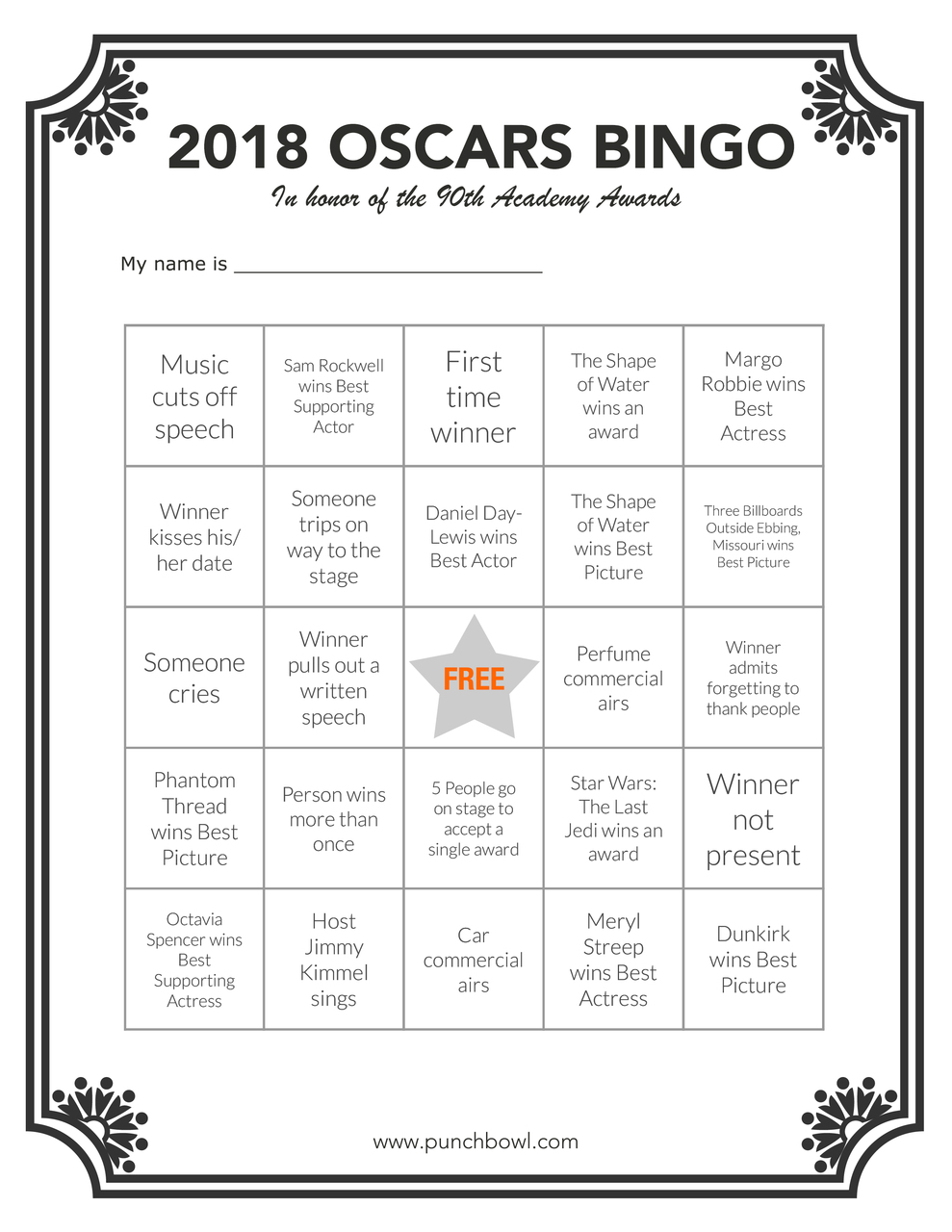 Oscars Party Planning Guide: Free Printable Oscars Bingo