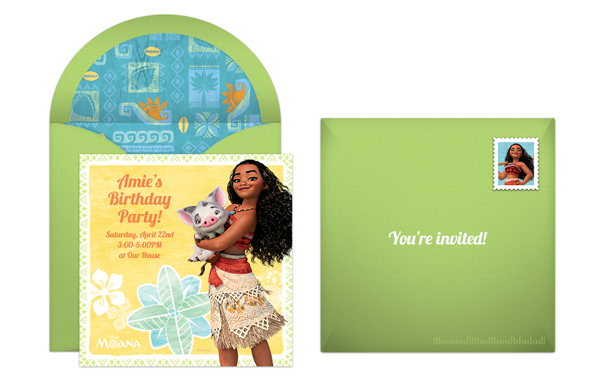 Personalize This Moana Maui Online Invitation For An Exciting Birthday Party We Love The Sunny And Tropical Design With