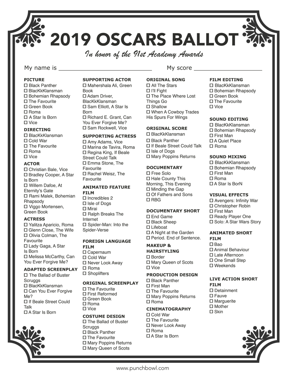 Unusual image within oscar ballots printable