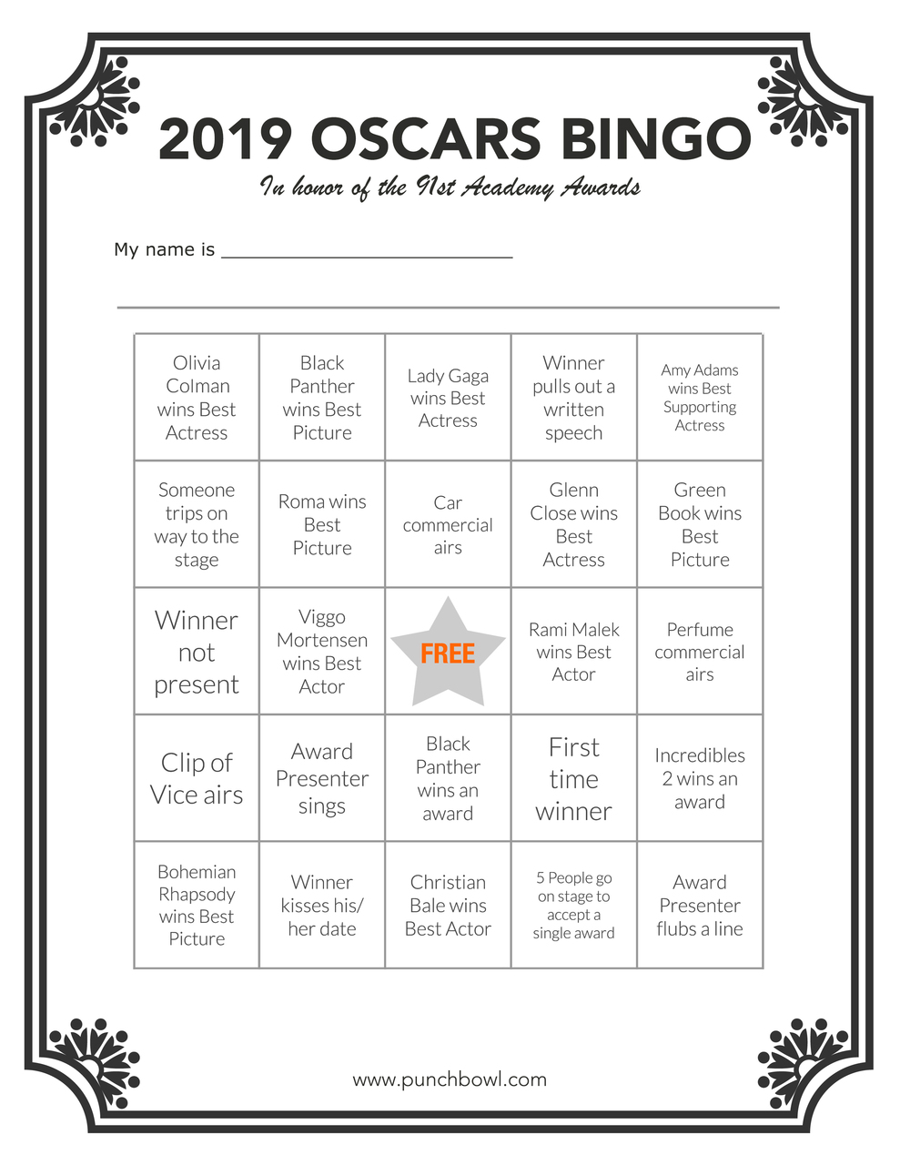 photograph relating to Retirement Party Games Free Printable named Printable Oscars Bingo