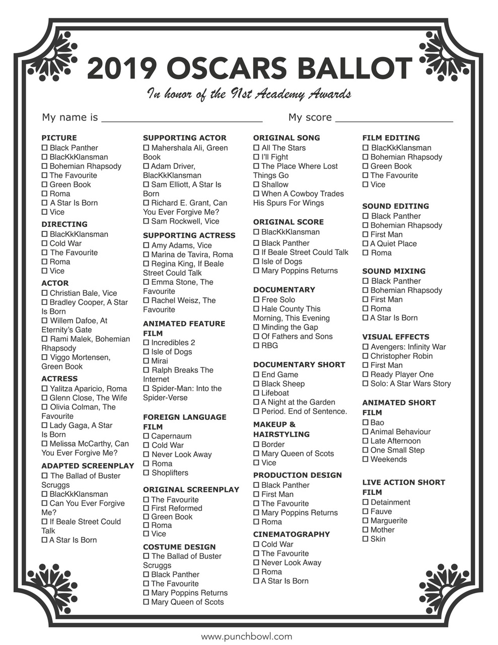 photo about Printable Ballot titled Printable Oscars Ballot