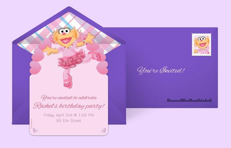 Free Sesame Street Invitations Sesame Street Online Invitations – Abby Cadabby Birthday Invitations