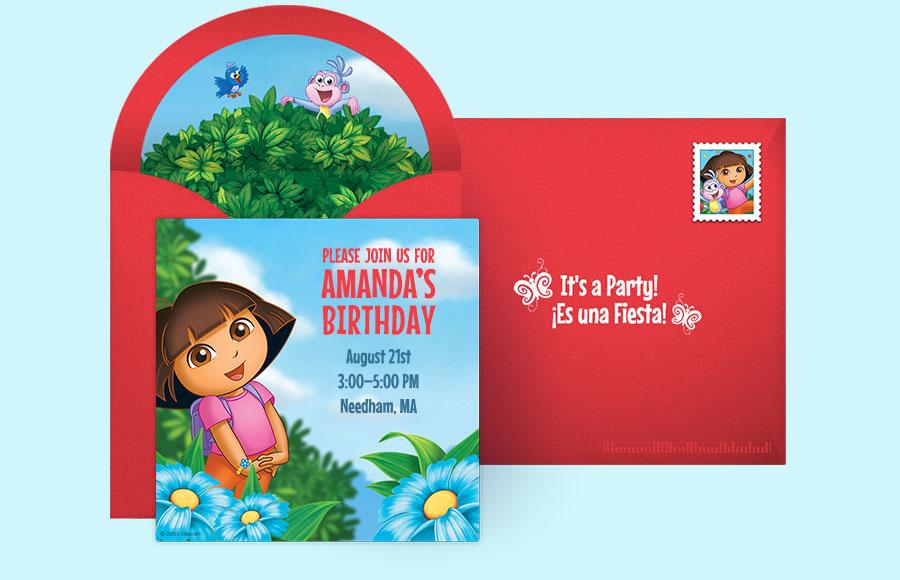 Free Dora Invitations Dora the Explorer Online Invitations – Dora the Explorer Party Invitations