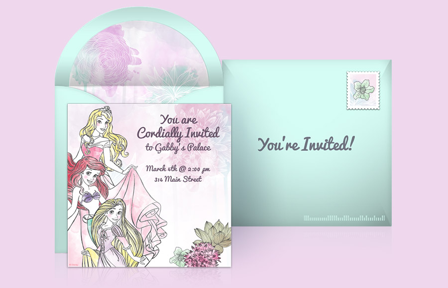 Free Disney Invitations, Disney Online Invitations | Punchbowl : Disney Princess Baby Shower Invitations Templates For Kids