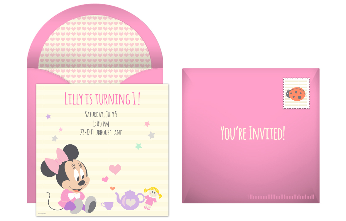 Minnie Mouse 1st Birthday Personalized Invitations Minnie Mouse 1st Birthday
