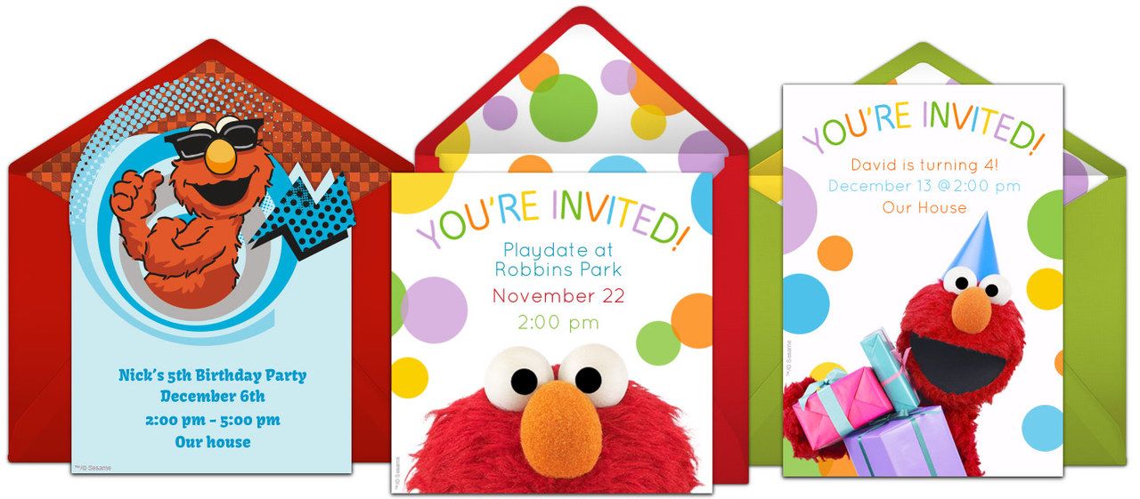 Free Elmo Birthday Party Online Invitation