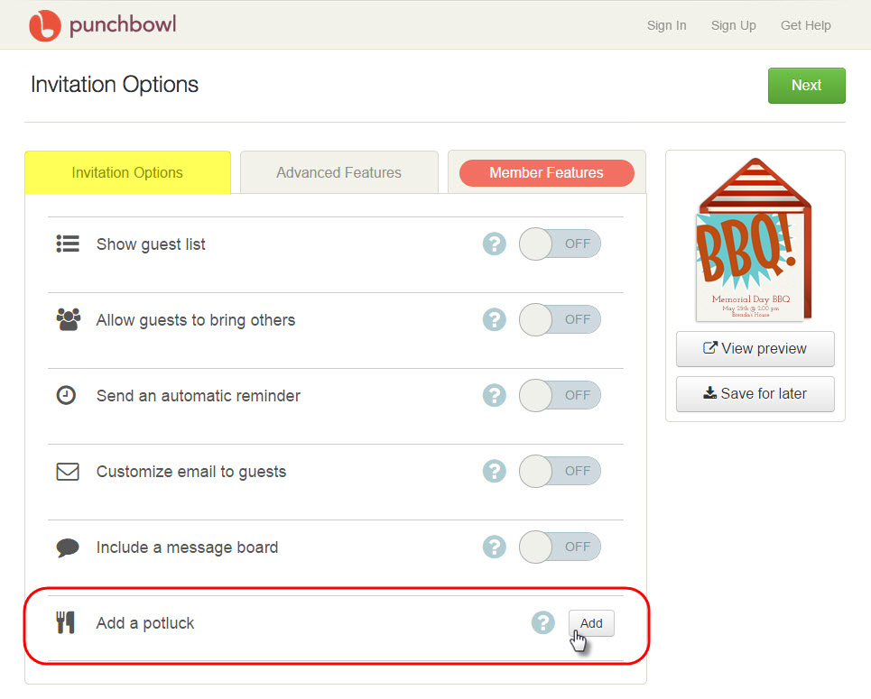 This useful feature can be found on the Invitation Options page, as ...