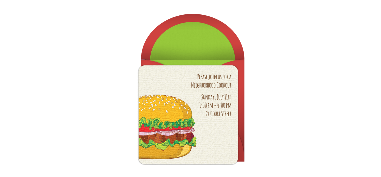 Free Burger Cookout Online Invitation - Punchbowl.com