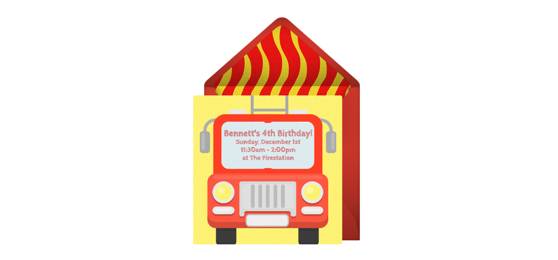 Free Firetruck Online Invitation - Punchbowl.com