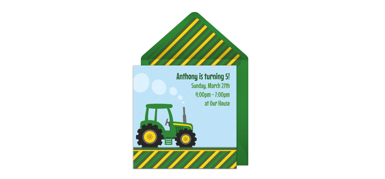 Free Farm Tractor Online Invitation - Punchbowl.com