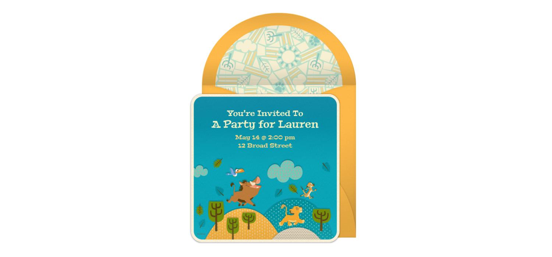 Free The Lion King Online Invitation - Punchbowl.com
