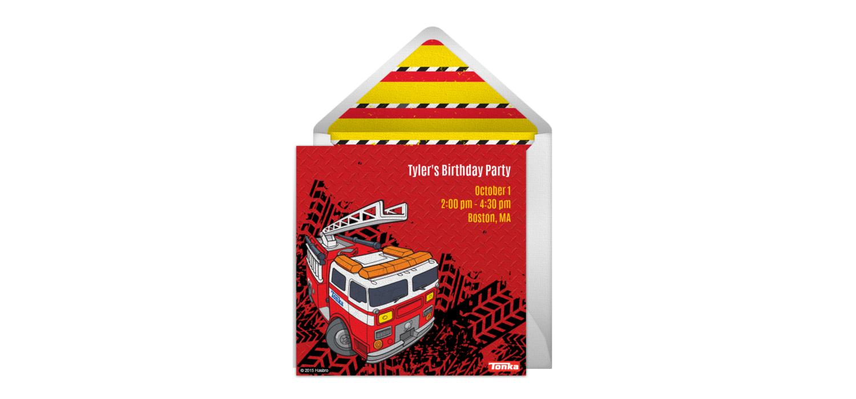 Free Tonka Fire Truck Online Invitation - Punchbowl.com