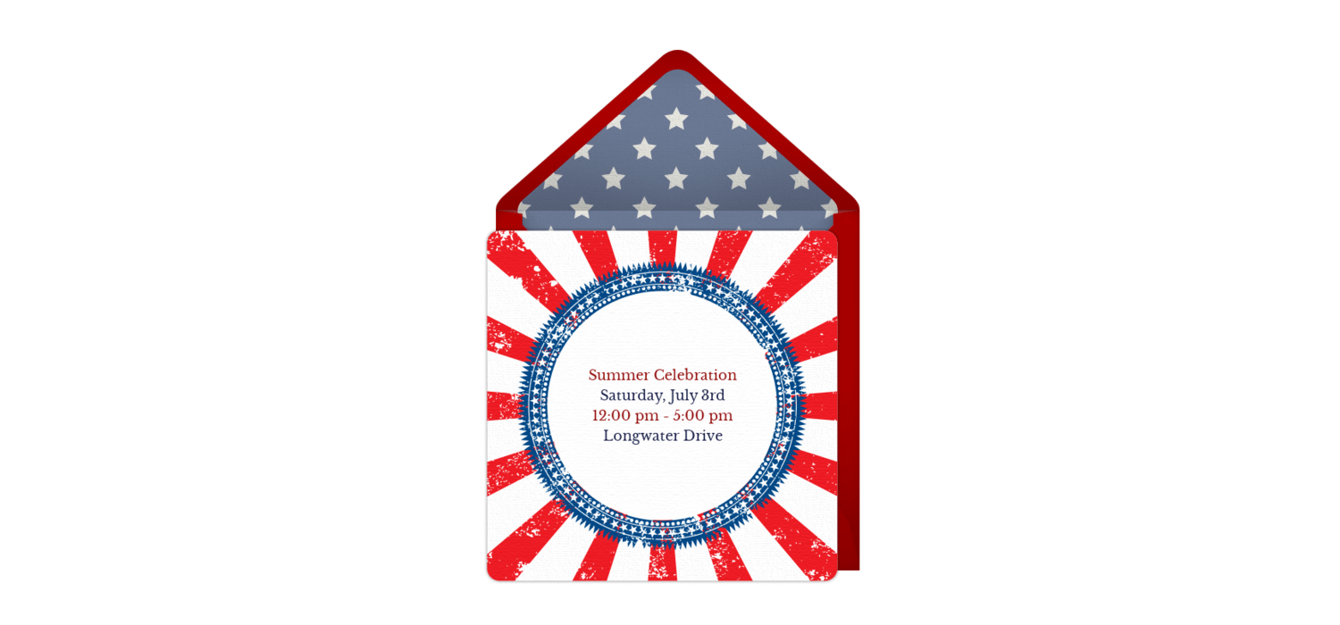 Free Red, White and Blue Patriotic Online Invitation - Punchbowl.com