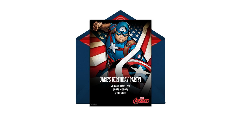 Free Avengers Captain America Online Invitation Punchbowl