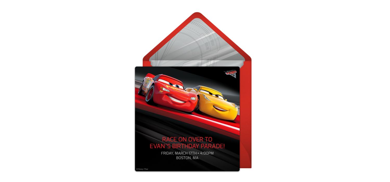 Free Cars 3 Online Invitation - Punchbowl.com